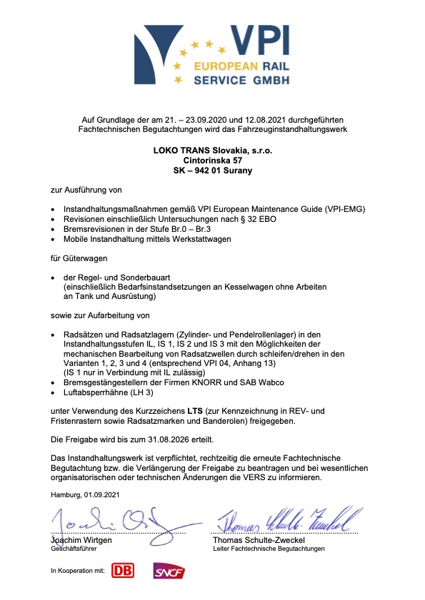 VERS-Zertifikat 2021-LOKO_TRANS Slovakia